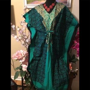NWT J.Gee Colorful Teal Drawstring Waist C…